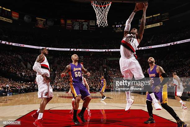 Thomas Robinson of the Portland Trail Blazers goes to the basket against the Los Angeles Lakers on January 5 2015 at the Moda Center in Portland...