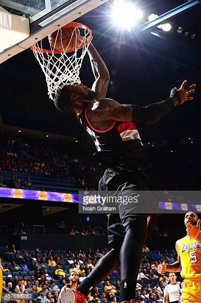Thomas Robinson of the Portland Trail Blazers goes up for a dunk against the Los Angeles Lakers at the Citizens Business Bank Arena in Ontario...