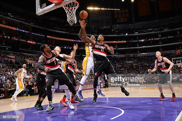 Thomas Robinson of the Portland Trail Blazers goes up for a rebound against the Los Angeles Lakers during the game on January 11 2015 at STAPLES...