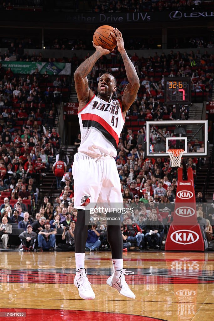 Thomas Robinson #41 of the Portland Trail Blazers takes a shot during a game against the Minnesota Timberwolves on February 23, 2014 at the Moda Center Arena in Portland, Oregon.