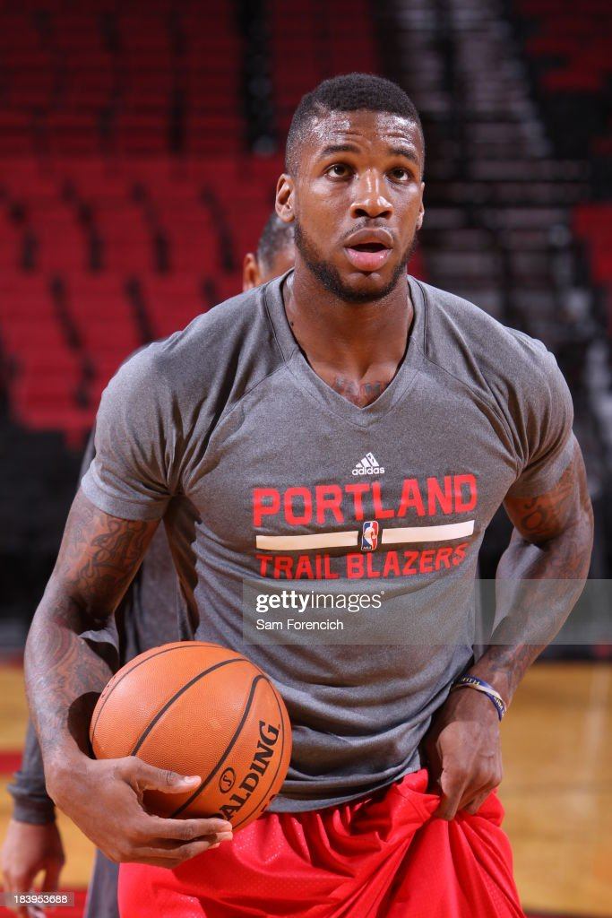 Thomas Robinson #41 of the Portland Trail Blazers warms up before the game against the Los Angeles Clippers on October 7, 2013 at the Moda Center Arena in Portland, Oregon.