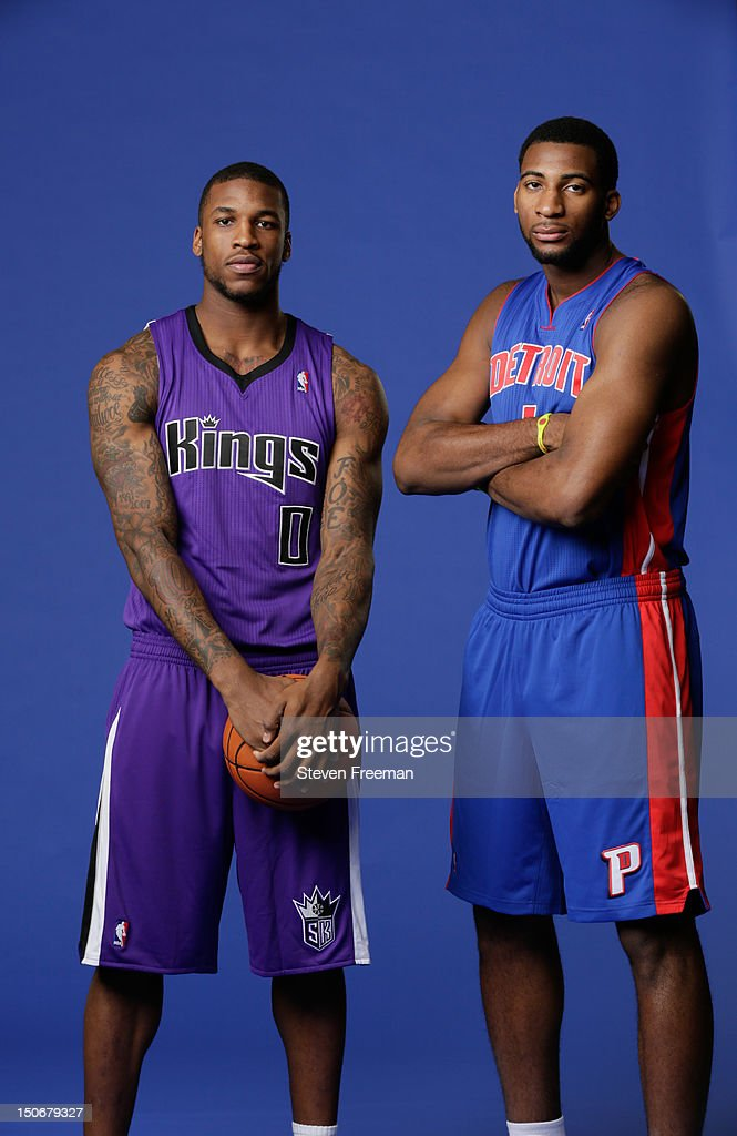 Thomas Robinson #0 of the Sacramento Kings and Andre Drummond #1 of the Detroit Pistons poses for a portrait during the 2012 NBA rookie photo shoot on August 21, 2012 at the MSG Training Facility in Tarrytown, New York.
