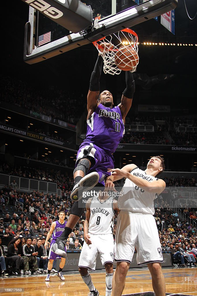 Thomas Robinson #0 of the Sacramento Kings dunks against <a gi-track='captionPersonalityLinkClicked' href=/galleries/search?phrase=Mirza+Teletovic&family=editorial&specificpeople=2255667 ng-click='$event.stopPropagation()'>Mirza Teletovic</a> #33 of the Brooklyn Nets on January 5, 2013 at the Barclays Center in the Brooklyn borough of New York City.