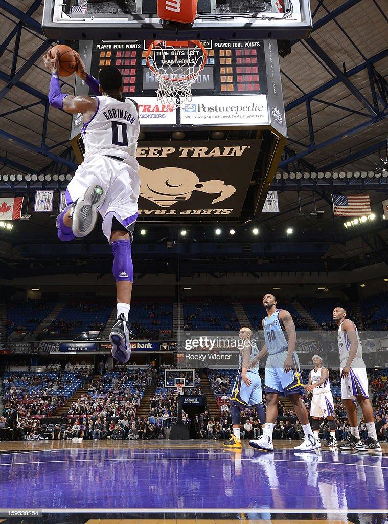 Thomas Robinson #0 of the Sacramento Kings dunks against the Memphis Grizzlies on January 7, 2013 at Sleep Train Arena in Sacramento, California.