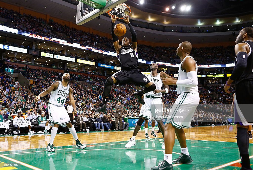 Thomas Robinson #0 of the Sacramento Kings dunks the ball against the Boston Celtics during the game on January 30, 2013 at TD Garden in Boston, Massachusetts.