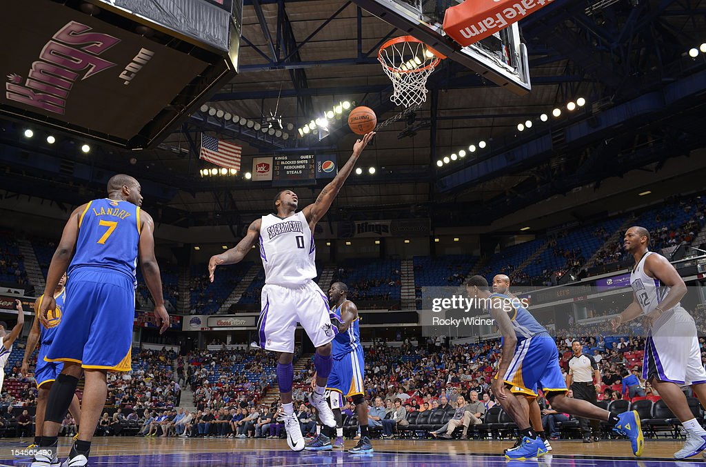 Thomas Robinson #0 of the Sacramento Kings flips up a shot after the Sacramento Kings turn over the ball during a game against the Golden State Warriors on October 17, 2012 at Power Balance Pavilion in Sacramento, California.