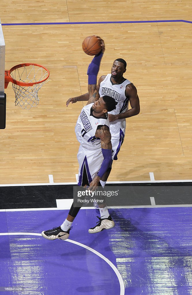 Thomas Robinson #0 of the Sacramento Kings goes up for the dunk against the Oklahoma City Thunder on January 25, 2013 at Sleep Train Arena in Sacramento, California.