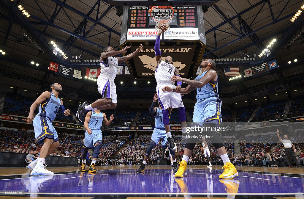 Thomas Robinson #0 of the Sacramento Kings goes up for the tip against <a gi-track='captionPersonalityLinkClicked' href=/galleries/search?phrase=Marreese+Speights&family=editorial&specificpeople=4187263 ng-click='$event.stopPropagation()'>Marreese Speights</a> #5 of the Memphis Grizzlies on January 7, 2013 at Sleep Train Arena in Sacramento, California.