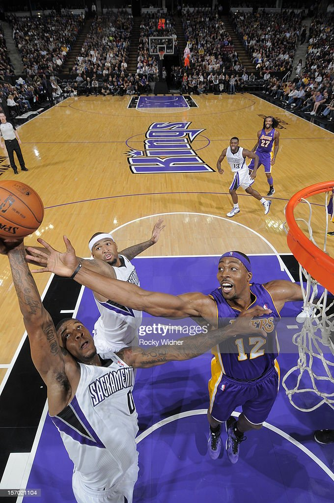 Thomas Robinson #0 of the Sacramento Kings grabs the rebound away from <a gi-track='captionPersonalityLinkClicked' href=/galleries/search?phrase=Dwight+Howard&family=editorial&specificpeople=201570 ng-click='$event.stopPropagation()'>Dwight Howard</a> #12 of the Los Angeles Lakers on November 21, 2012 at Sleep Train Arena in Sacramento, California.
