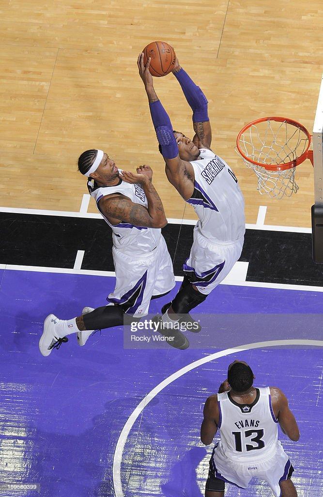 Thomas Robinson #0 of the Sacramento Kings rebounds against the Dallas Mavericks on January 10, 2013 at Sleep Train Arena in Sacramento, California.