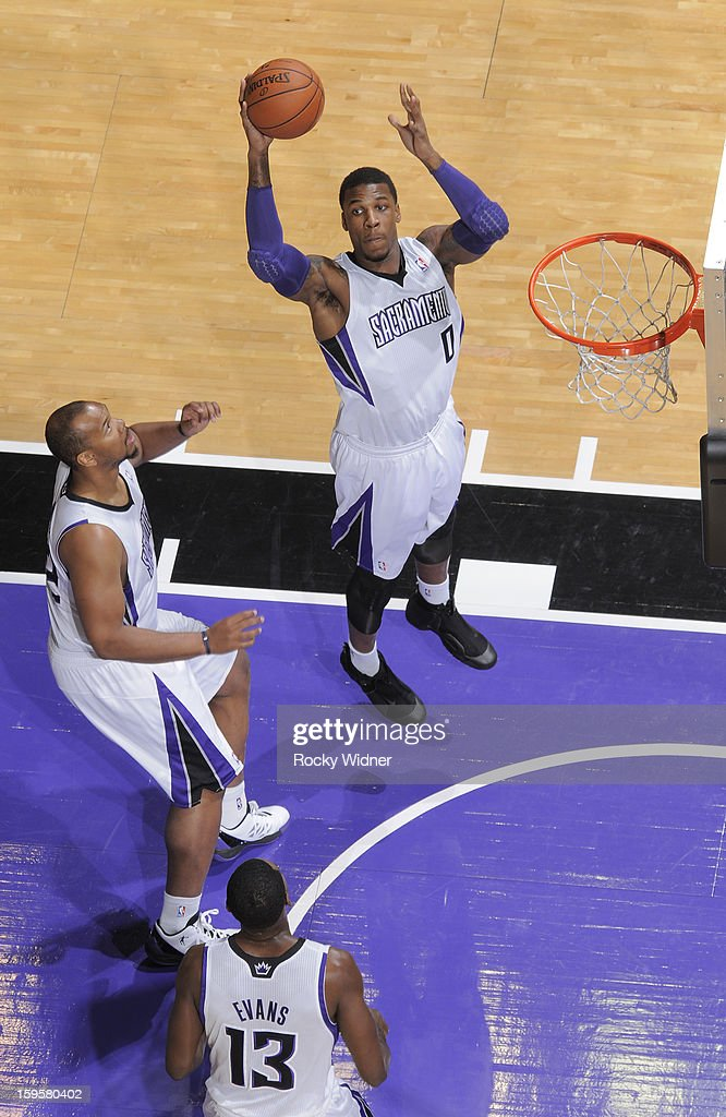 Thomas Robinson #0 of the Sacramento Kings rebounds against the Dallas Mavericks on January 10, 2013 at Sleep Train Arena in Sacramento, California.