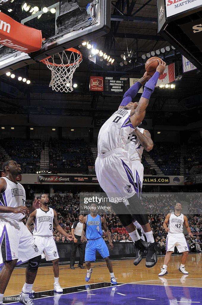 SACRAMENTO, CA - JANUARY 10 Thomas Robinson #0 of the Sacramento Kings rebounds the ball against the Dallas Mavericks on January 10, 2013 at Sleep Train Arena in Sacramento, California.