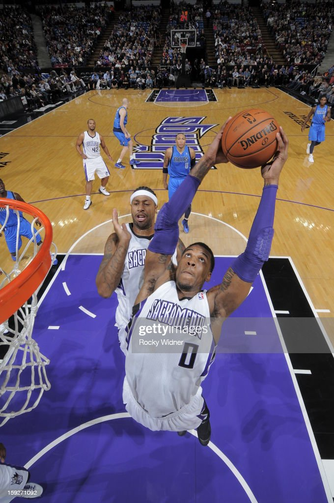 Thomas Robinson #0 of the Sacramento Kings rebounds the ball against the Dallas Mavericks on January 10, 2013 at Sleep Train Arena in Sacramento, California.