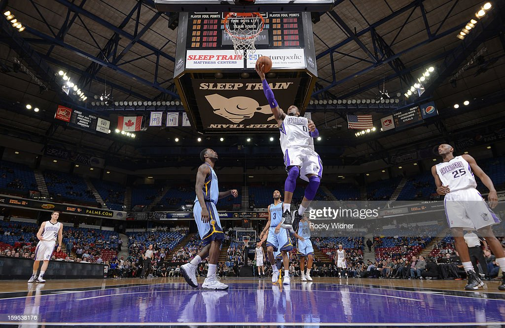 Thomas Robinson #0 of the Sacramento Kings shoots against <a gi-track='captionPersonalityLinkClicked' href=/galleries/search?phrase=Tony+Allen+-+Basketball+Player&family=editorial&specificpeople=201665 ng-click='$event.stopPropagation()'>Tony Allen</a> #9 of the Memphis Grizzlies on January 7, 2013 at Sleep Train Arena in Sacramento, California.