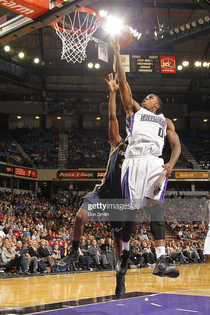 Thomas Robinson #0 of the Sacramento Kings takes the ball to the basket against the Utah Jazz on November 24, 2012 at Sleep Train Arena in Sacramento, California.