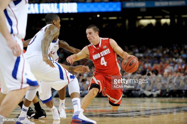 Thomas Robinson of the University of Kansas guards Aaron Craft of the Ohio State University during the Semifinal Game of the 2012 NCAA Men's Division...