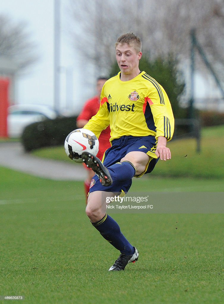 Thomas Robson of Sunderland in action during the Barclays Premier League Under 18 fixture between Liverpool and Sunderland at the Liverpool FC Academy on February 15 in Kirkby, England.