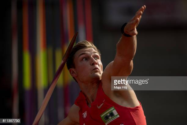 Thomas Roehler competes at men's javelin throw during day 2 of the German Championships in Athletics at Steigerwaldstadion on July 9 2017 in Erfurt...