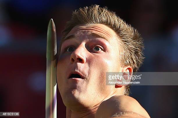 Thomas Roehler of LC Jena comeptes in the javelin finale during day 2 of the German Championships in Athletics at Grundig Stadium on July 24 2015 in...