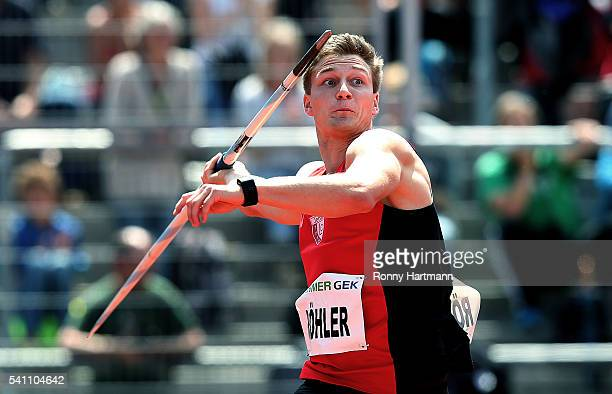 Thomas Roehler of LC Jena competes during the Men's Javelin Throw final during day 1 of the German Championships in Athletics at Aue Stadium on June...