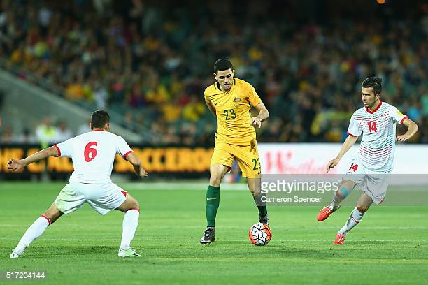 Thomas Rogic of Australia makes a break during the 2018 FIFA World Cup Qualification match between the Australia Socceroos and Tajikistan at the...