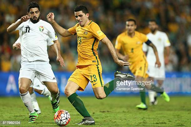 Thomas Rogic of Australia scores a goal during the 2018 FIFA World Cup Qualification match between the Australian Socceroos and Jordan at Allianz...