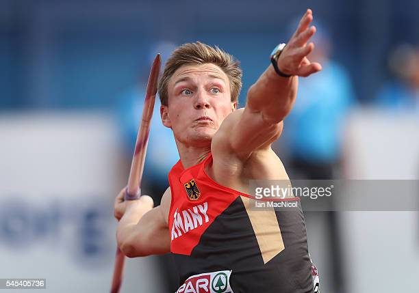 Thomas Rohler of Germany competes in the final of The Men's Javelin during Day Two of The European Athletics Championships at Olympic Stadium on July...