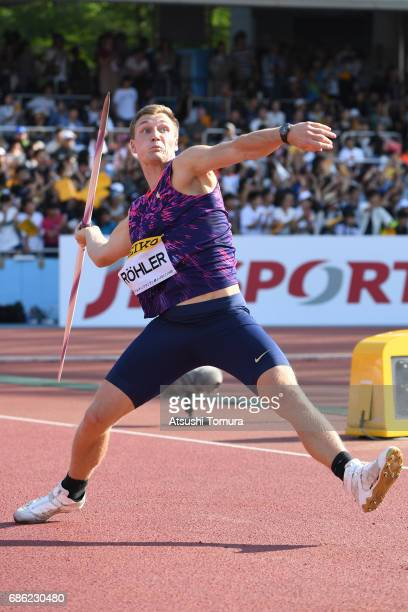 Thomas Rohler of Germany competes in the Men Javelin throw during the SEIKO Golden Grand Prix at Todoroki Athletics Stadium on May 21 2017 in...