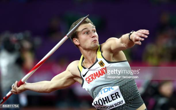 Thomas Rohler of Germany competes in the Men's Javelin Throw final during day nine of the 16th IAAF World Athletics Championships London 2017 at The...