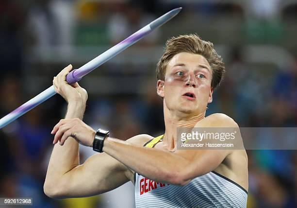Thomas Rohler of Germany competes in the Men's Javelin Throw on Day 15 of the Rio 2016 Olympic Games at the Olympic Stadium on August 20 2016 in Rio...