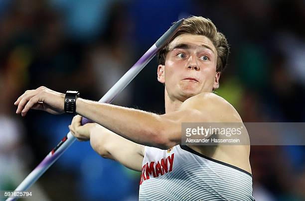Thomas Rohler of Germany competes in the Men's Javelin Throw Qualifying Round on Day 12 of the Rio 2016 Olympic Games at the Olympic Stadium on...