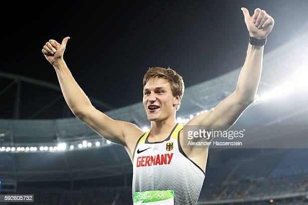 Thomas Rohler of Germany reacts after winning gold in the Men's Javelin Throw on Day 15 of the Rio 2016 Olympic Games at the Olympic Stadium on...
