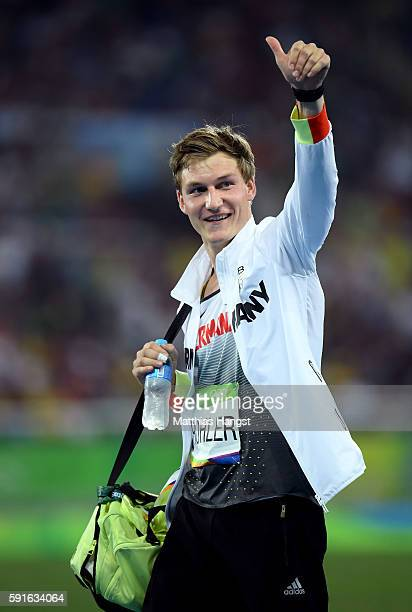 Thomas Rohler of Germany waves during the Men's Javelin Throw Qualifying Round on Day 12 of the Rio 2016 Olympic Games at the Olympic Stadium on...