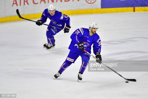 Thomas Roussel of France and Valentin Claireaux of France during the EIHF Ice Hockey Four Nations tournament match between France and Slovenia on...