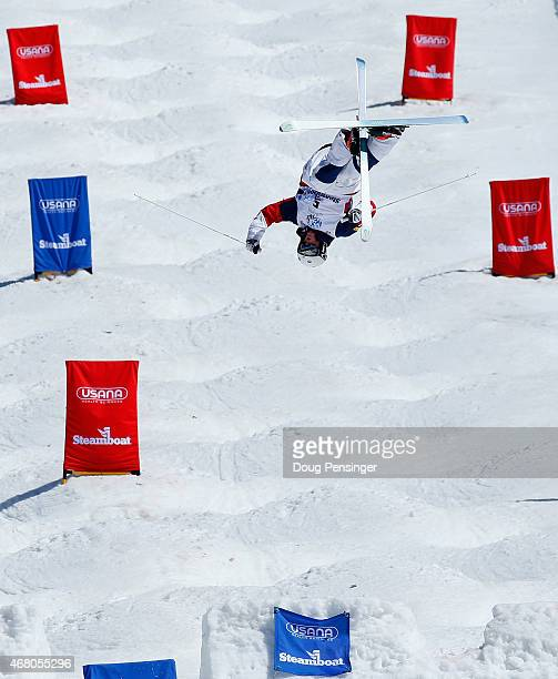 Thomas Rowley goes airborne of the final jump to win the men's dual moguls at the 2015 US Freestyle Ski National Championships at Steamboat Ski...