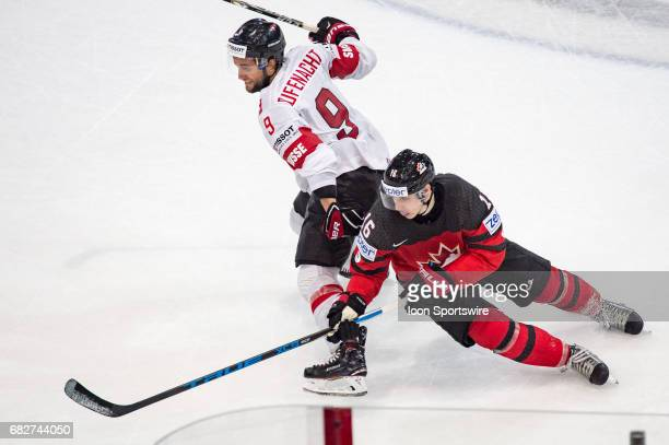 Thomas Rufenacht vies with Mitchell Marner during the Ice Hockey World Championship between Canada and Switzerland at AccorHotels Arena in Paris...