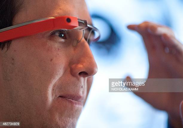 Thomas Sanchez founder of digital innovation agency Social Driver demonstrates Google Glass at the National Press Club in Washington on April 4 2014...