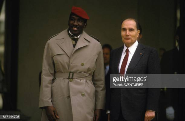 Thomas Sankara President of Burkina Faso received by Francois Mitterrand at Elysee Palace on February 5 1986 in Paris France