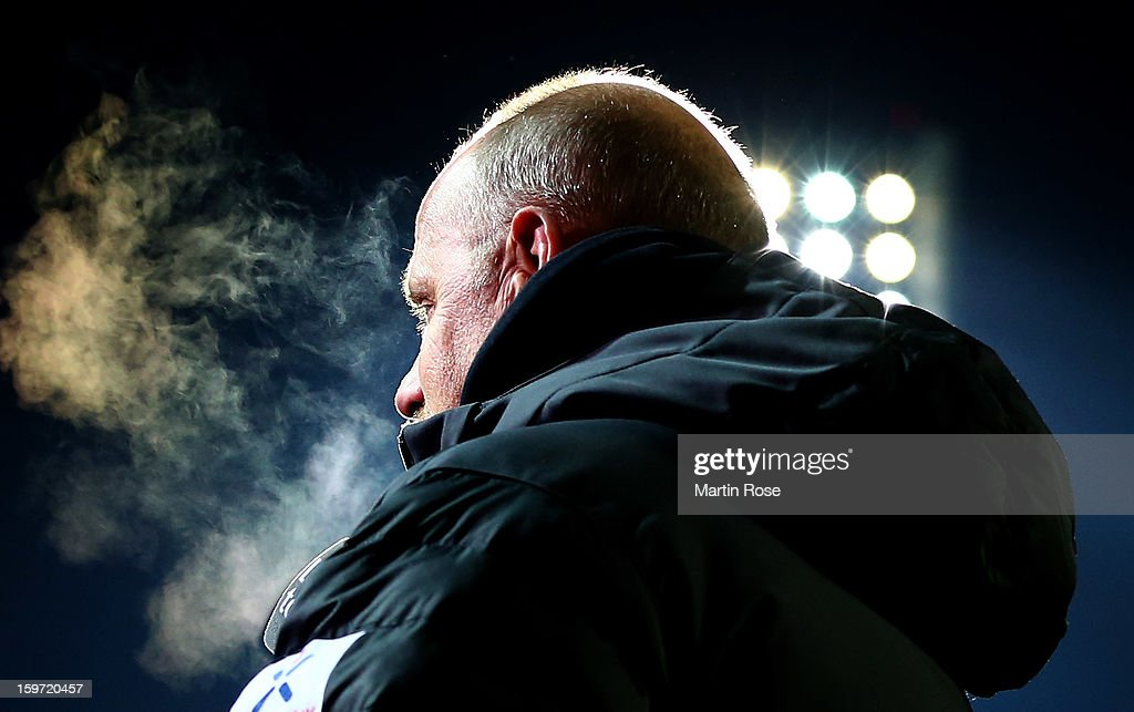 <a gi-track='captionPersonalityLinkClicked' href=/galleries/search?phrase=Thomas+Schaaf&family=editorial&specificpeople=216597 ng-click='$event.stopPropagation()'>Thomas Schaaf</a>, head coach of Bremen looks on before the Bundesliga match between Werder Bremen and Borussia Dortmund at Weser Stadium on January 19, 2013 in Bremen, Germany.
