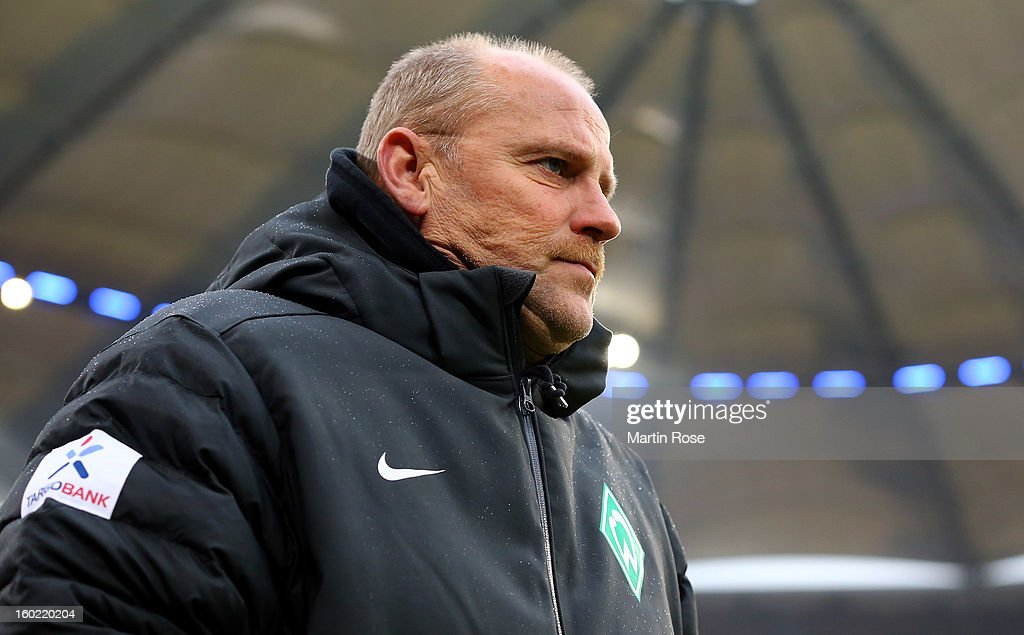 Thomas Schaaf, head coach of Bremen looks on before the Bundesliga match between Hamburger SV and SV Werder Bremen at Imtech Arena on January 27, 2013 in Hamburg, Germany.