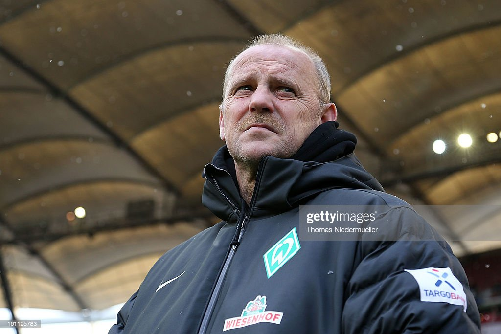 Thomas Schaaf, head coach of Bremen looks on prior to the Bundesliga match between VfB Stuttgart and Werder Bremen at Mercedes-Benz Arena on February 9, 2013 in Stuttgart, Germany.