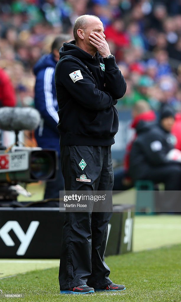<a gi-track='captionPersonalityLinkClicked' href=/galleries/search?phrase=Thomas+Schaaf&family=editorial&specificpeople=216597 ng-click='$event.stopPropagation()'>Thomas Schaaf</a>, head coach of Bremen reacts during the Bundesliga match between Werder Bremen and FC Schalke 04 at Weser Stadium on April 6, 2013 in Bremen, Germany.