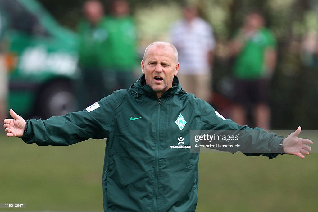 <a gi-track='captionPersonalityLinkClicked' href=/galleries/search?phrase=Thomas+Schaaf&family=editorial&specificpeople=216597 ng-click='$event.stopPropagation()'>Thomas Schaaf</a>, head coach of Bremen reacts during the Werder Bremen training session on July 18, 2011 in Donaueschingen, Germany.