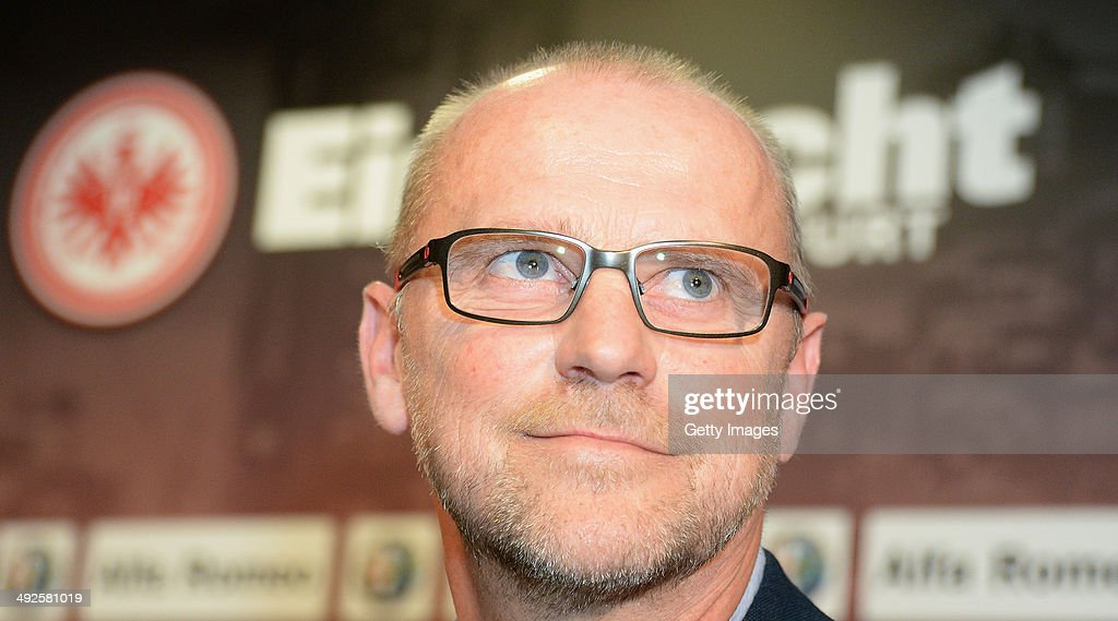 <a gi-track='captionPersonalityLinkClicked' href=/galleries/search?phrase=Thomas+Schaaf&family=editorial&specificpeople=216597 ng-click='$event.stopPropagation()'>Thomas Schaaf</a> of Eintracht Frankfurt looks on during a press conference concerning his presentation as new head coach of Bundesliga club Eintracht Frankfurt at Commerzbank-Arena on May 21, 2014 in Frankfurt am Main, Germany.