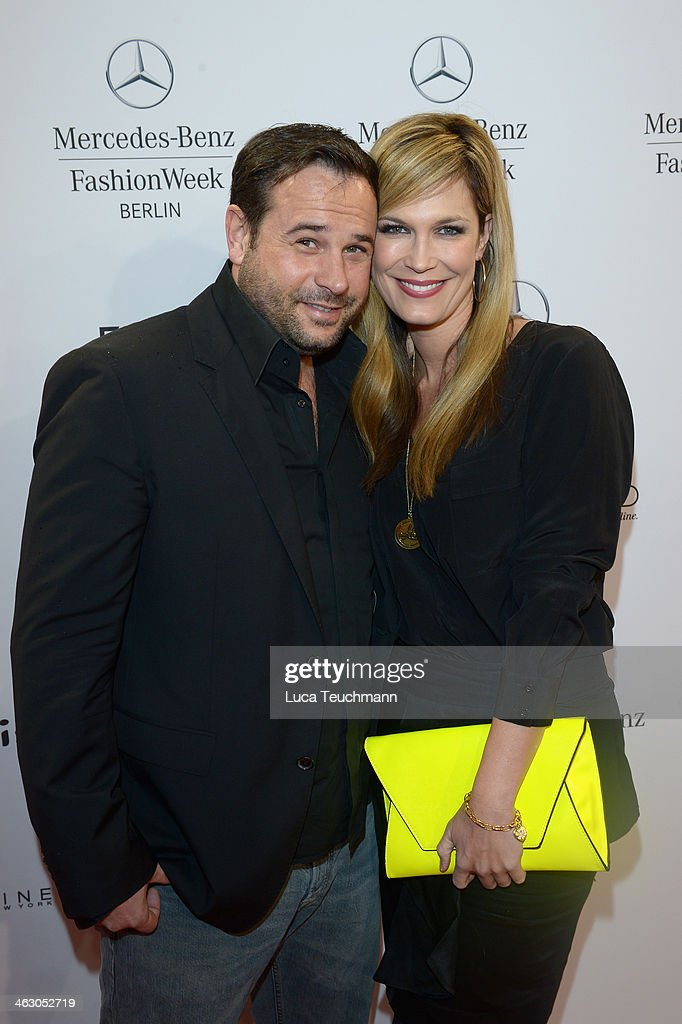 Thomas Schubert and Verena Wriedt arrive for the Guido Maria Kretschmer Show during Mercedes-Benz Fashion Week Autumn/Winter 2014/15 at Brandenburg Gate on January 16, 2014 in Berlin, Germany.
