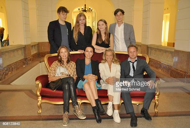 Thomas Schubert Zoe Straub Antonia Jung Nikolai Gemel and Patricia Aulitzky Ursula Strauss Kathrin Zechner Maximilian Brueckner pose during the...