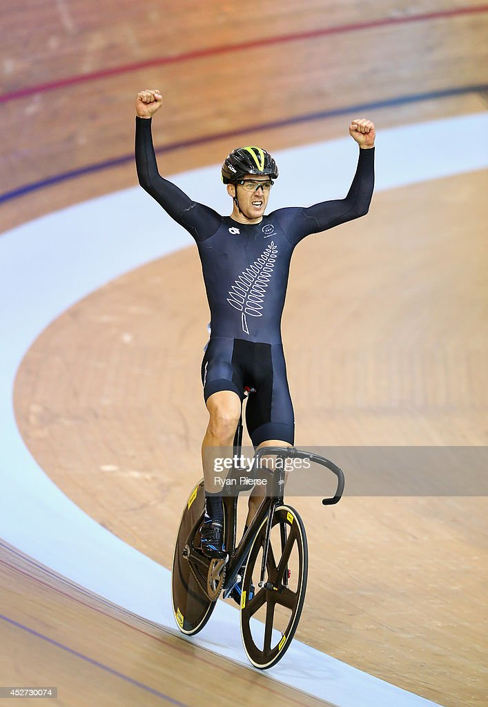 Thomas Scully of New Zealand celebrates after winning Gold in the Men's 40km Points Race at Sir Chris Hoy Velodrome during day three of the Glasgow 2014 Commonwealth Games on July 26, 2014 in Glasgow, United Kingdom.
