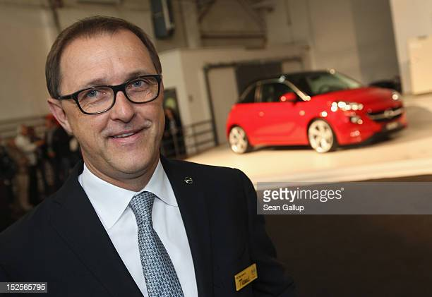 Thomas Sedran current head of Opel prepares to present the company's new Opel Adam car at a celebration at the Opel Insignia and Astra factory...