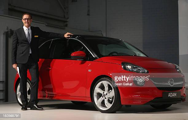 Thomas Sedran current head of Opel presents the company's new Opel Adam car at a celebration at the Opel Insignia and Astra factory marking Opel's...