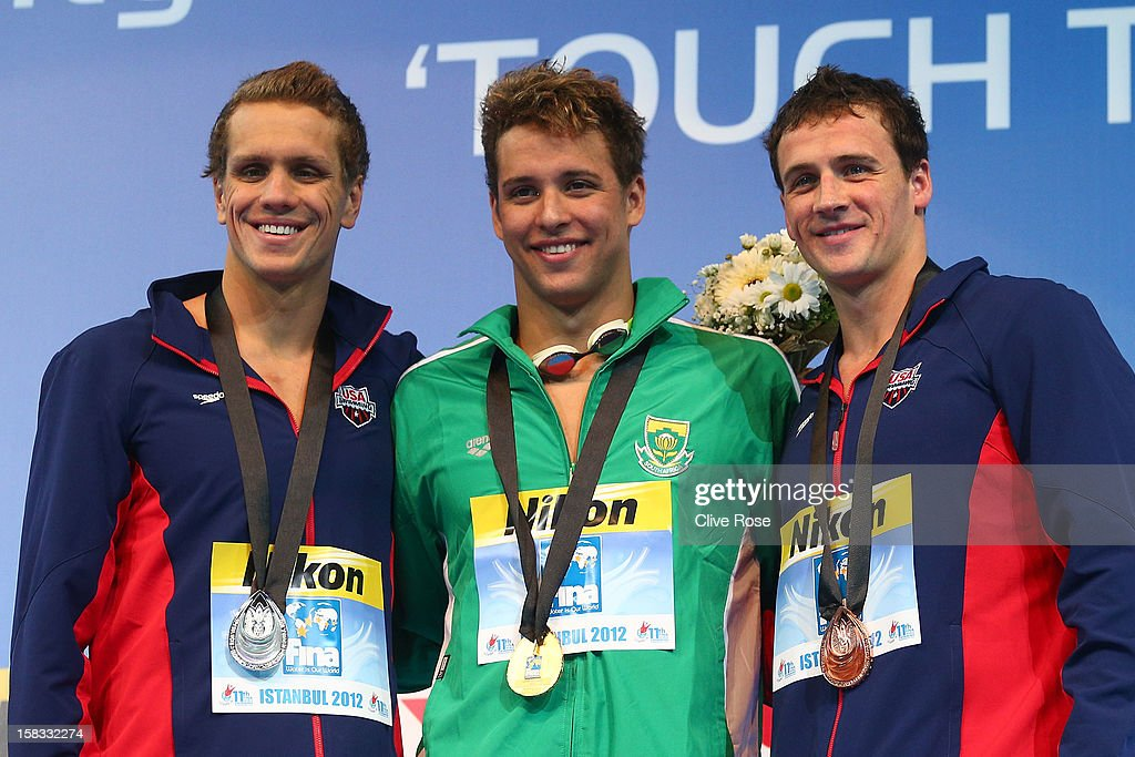 Thomas Shield of USA, Chad Le Clos of South Africa and Ryan Lochte pose with their medals on the podium after the Men's 100m Butterfly Final during day two of the 11th FINA Short Course World Championships at the Sinan Erdem Dome on December 13, 2012 in Istanbul, Turkey.